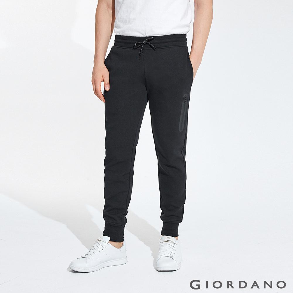 GIORDANO 男裝雙面空氣層運動口袋休閒束口褲-19 標誌黑
