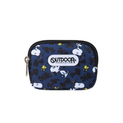 【OUTDOOR】SNOOPY聯名款剪影版雙拉鍊零錢包-深藍色 ODP19D06NY