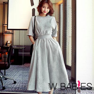 正韓 運動風素面圓領五分袖洋裝 (共二色)-W BABIES
