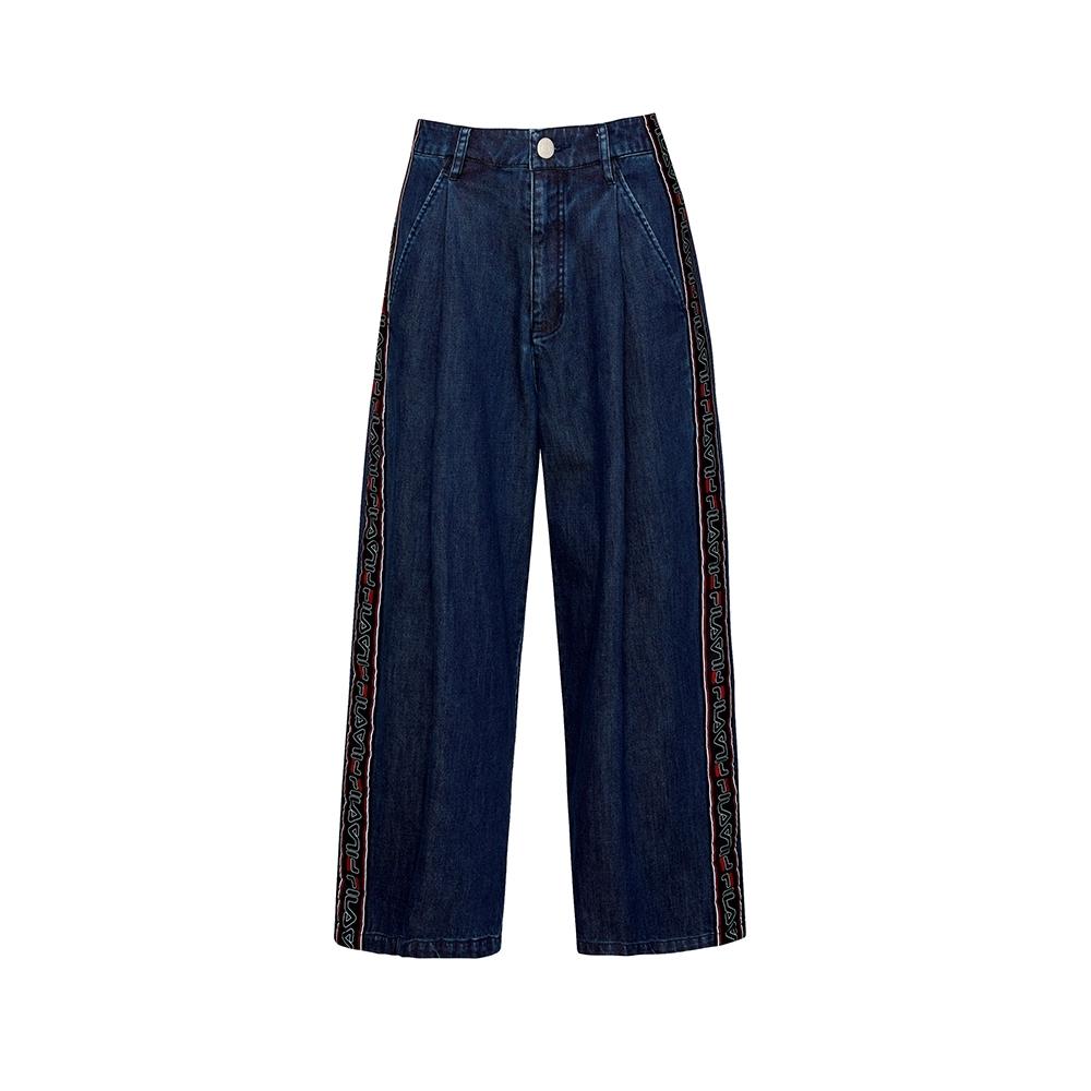 FILA #日潮攻略首部曲 女牛仔寬褲-藍色 5PNU-1433-BU