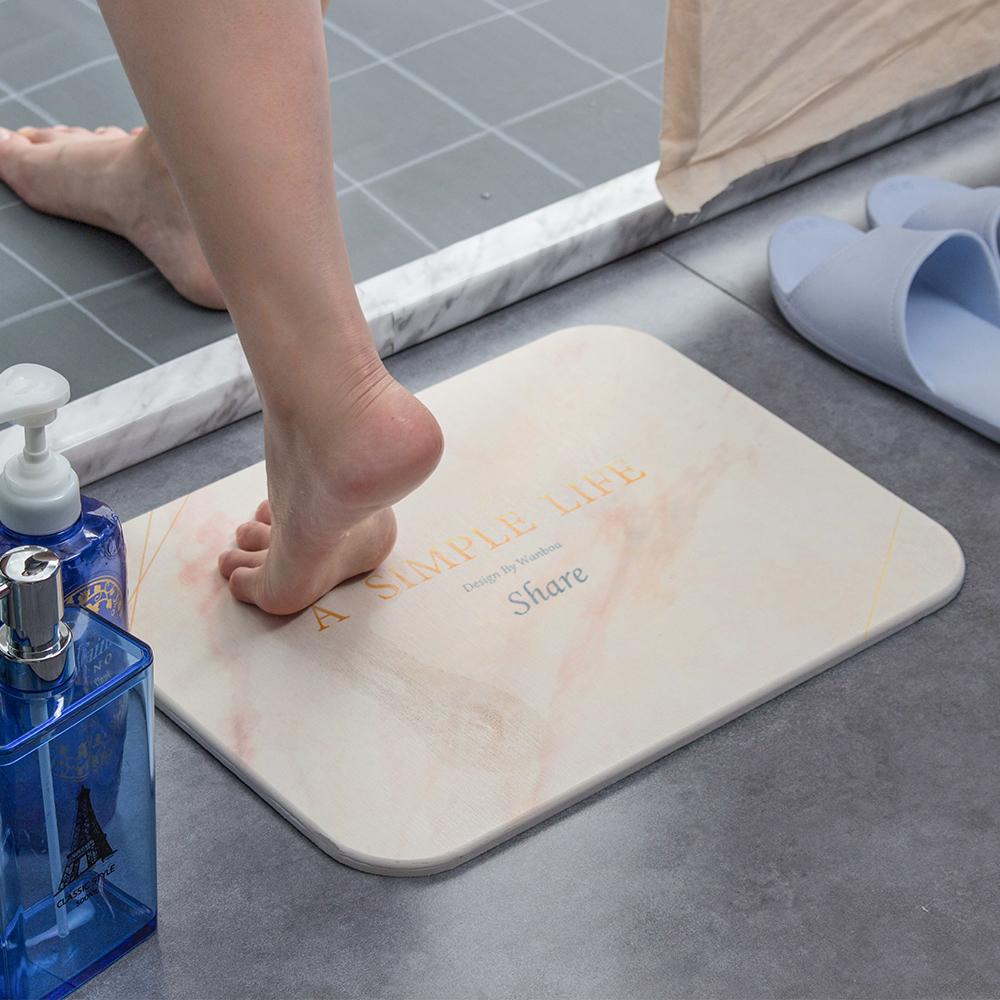 樂嫚妮 北歐標準版珪藻土吸水速乾地墊/踏墊/腳墊-大理石紋