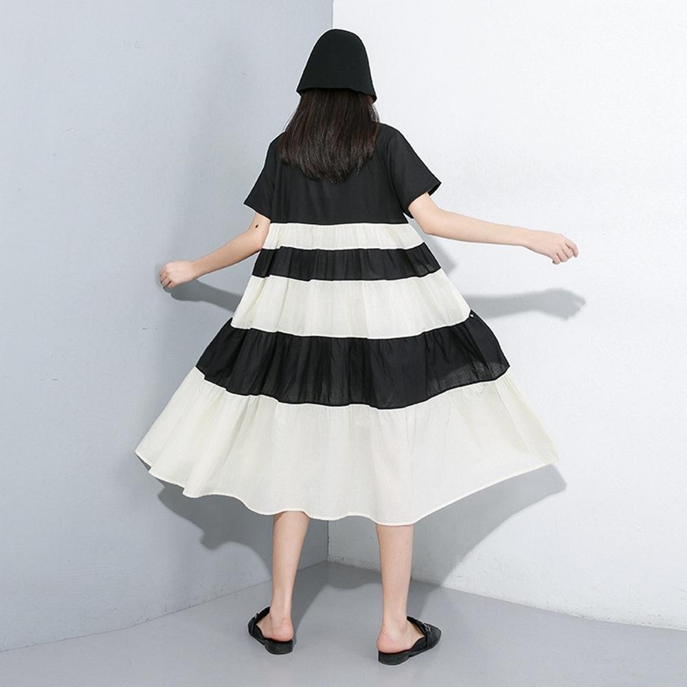簡約個性黑白條紋拼接寬鬆洋裝-F-CLORI