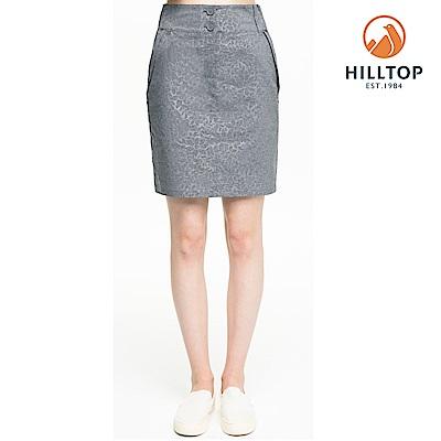 【hilltop山頂鳥】女款吸濕快乾抗UV彈性壓花短裙S12F01黑美人