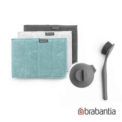 【Brabantia】碳纖維清理墊3入+盤刷組-深灰