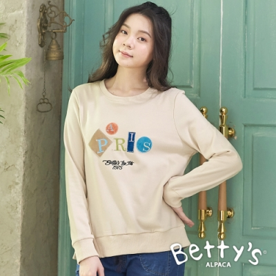 betty's貝蒂思 英文刺繡蕾絲開衩T-shirt(卡其)