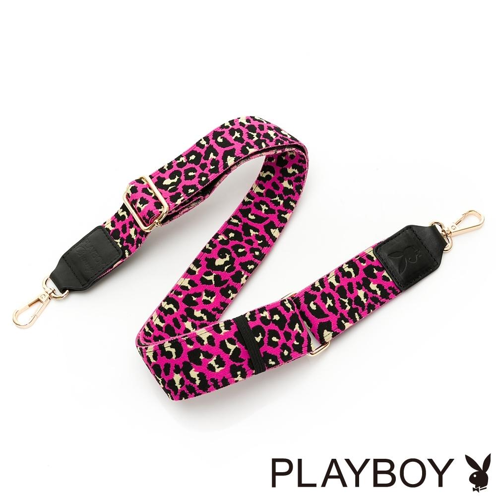 PLAYBOY-質感寬版肩背帶系列-黑桃色愛心豹紋