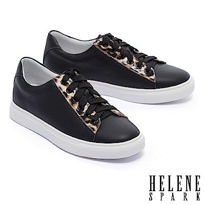 休閒鞋 HELENE SPARK 簡約質感豹紋點綴全真皮厚底休閒鞋-黑