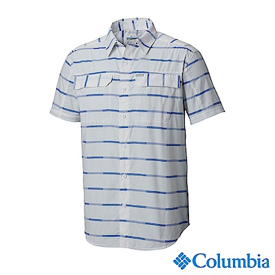 Columbia 哥倫比亞男款-UPF30快排短袖襯衫-白色 UAE06480WT