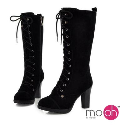 mo.oh 全真皮粗跟綁帶拉鏈長筒靴-黑色