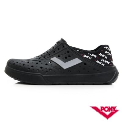 【PONY】ENJOY系列洞洞鞋-中性款-黑/LOGO印花