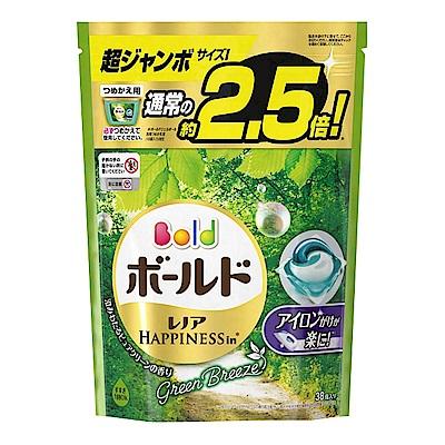 日本P&G 3D立體2.5倍洗衣果凍膠囊補充包-微風綠草香(733g)-38顆入