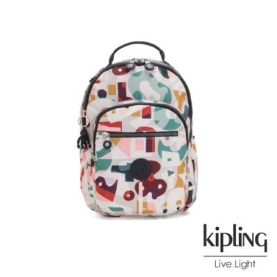 Kipling 音樂派對幾何塗鴉機能手提後背包-SEOUL S