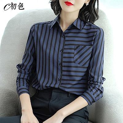 初色  拼接條紋雪紡襯衫-共2色-(M-2XL可選)