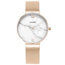 TAYROC  簡約大理石時尚米蘭腕錶-玫瑰金X白(TY152)-36mm