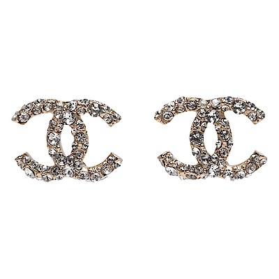 CHANEL 經典水鑽鑲嵌雙C LOGO造型穿式耳環(金)