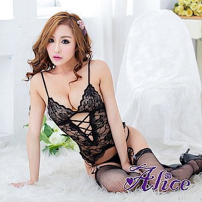 Alice性感黑色蕾絲不開襠套裝誘惑(AK038)