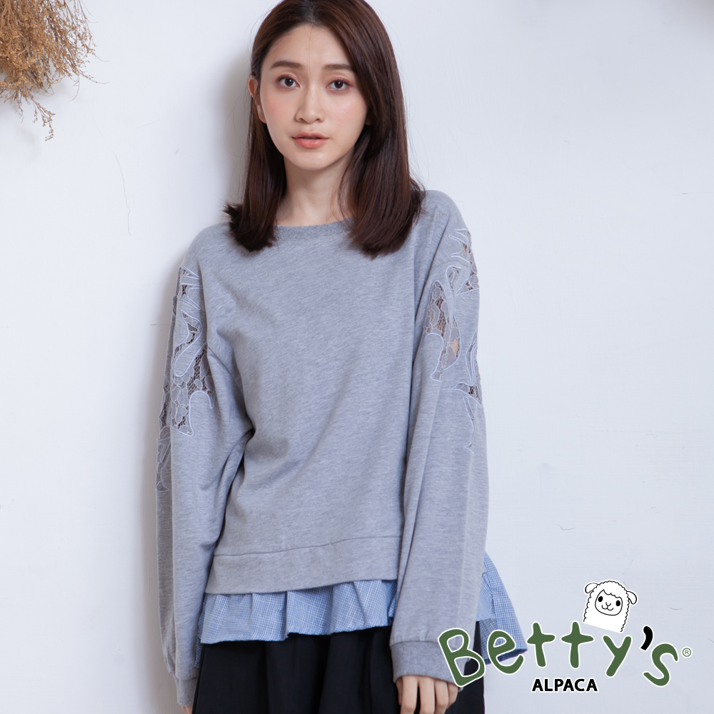 betty's貝蒂思 微透蕾絲格纹拼接T-shirt(中灰) @ Y!購物