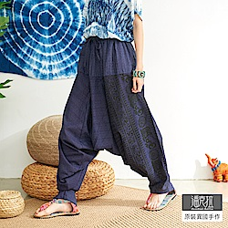 潘克拉 梵文圖騰束腰飛鼠褲-藍色