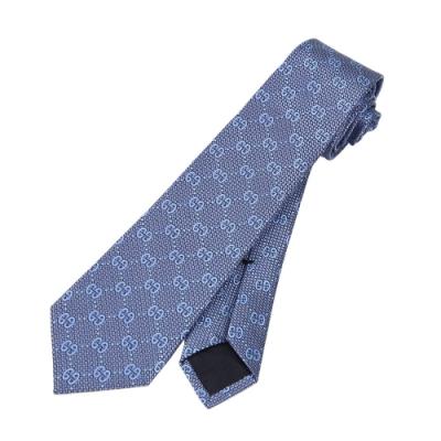 GUCCI 滿版GG 蠶絲男仕領帶(淺藍)