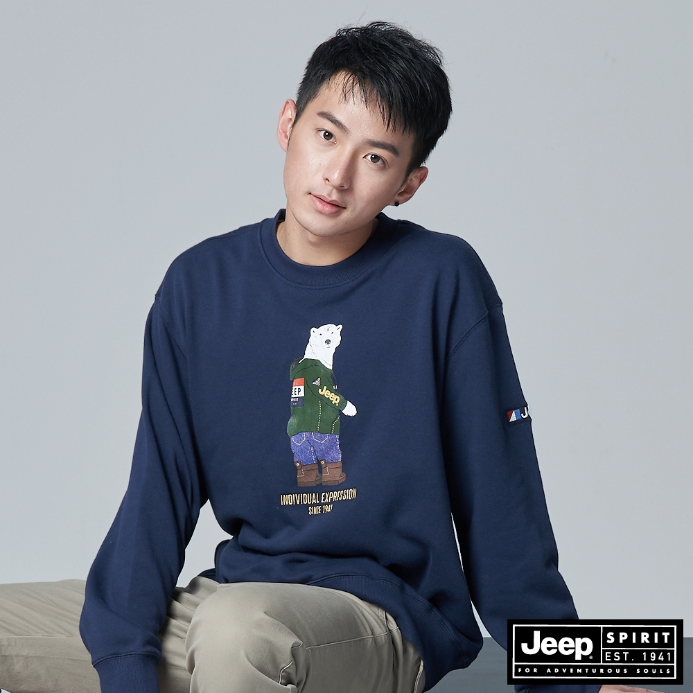 Jeep 男裝 北極熊圖騰大學T恤-深藍色