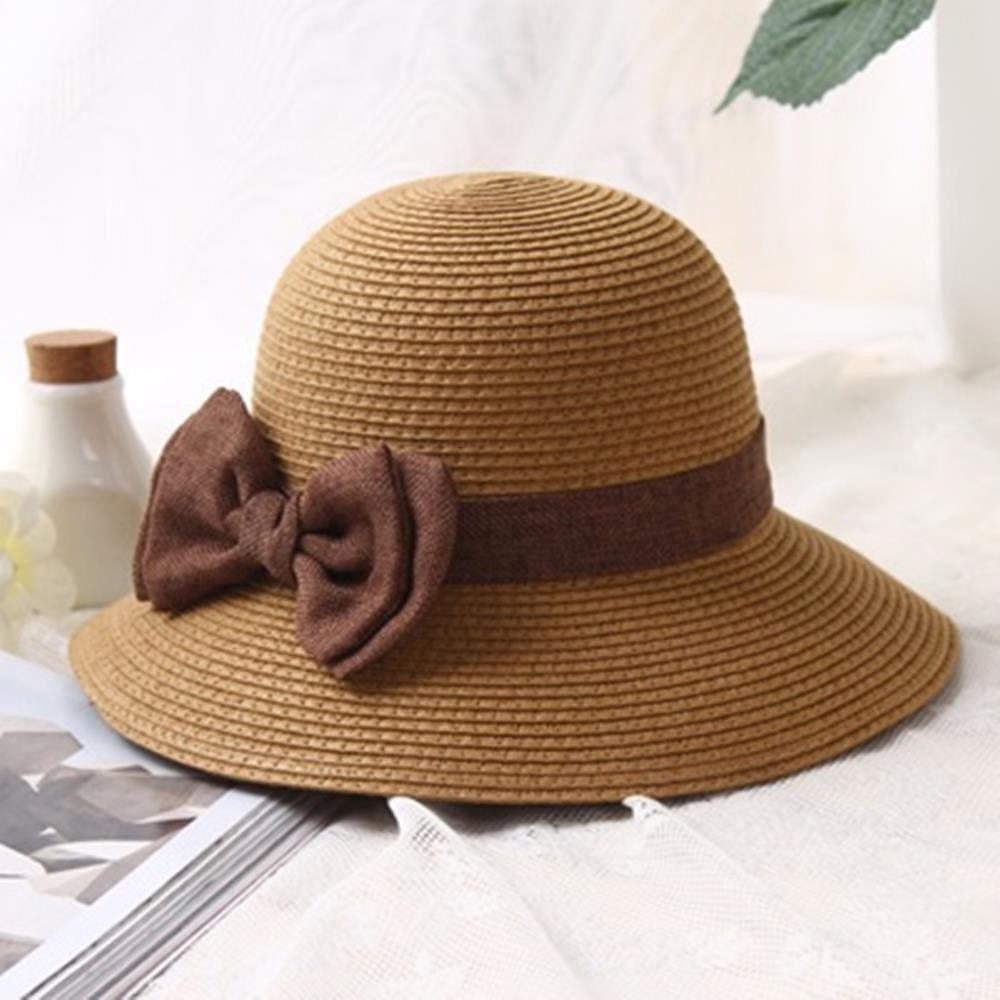 米蘭精品 草帽防曬遮陽漁夫帽-夏季海邊時尚蝴蝶結女帽子母親節禮物73rp111