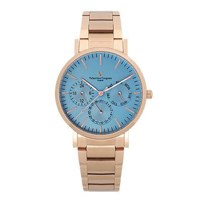 Valentino Coupeau 范倫鐵諾 古柏 時尚三眼腕錶 (玫殻/鋼帶/藍面)