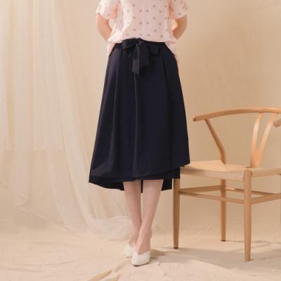 【CUMAR】素面前短後長-長裙(深藍/版型適中)