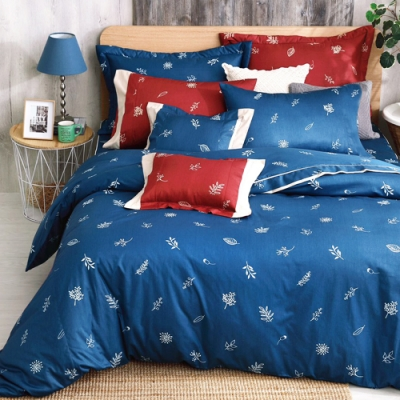 Carolan 葉之語-藍 加大五件式純棉床罩組(台灣製)