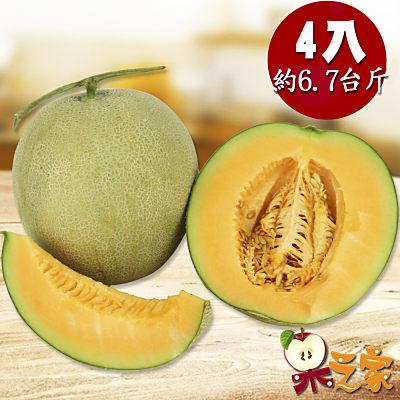 果之家 台南七股超甜爆汁網紋紅肉哈密瓜4顆(單顆約1KG)
