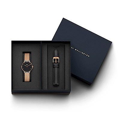 DW手錶 官方旗艦店 32mm米蘭錶+爵士黑真皮錶帶(編號14)