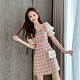 【KISSDIAMOND】法式氣質短袖拼接格子雪紡連衣裙(優雅/約會/甜美/KDD-5515) product thumbnail 1