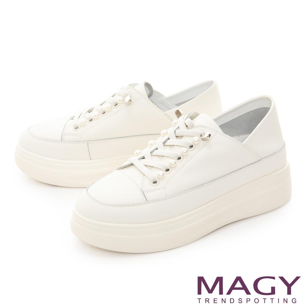 MAGY 雙皮質拼接綁帶厚底 女 休閒鞋 白色