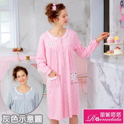 睡衣 針織棉長袖連身睡衣(R85205條紋貓咪) 蕾妮塔塔