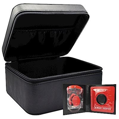 GIORGIO ARMANI 訂製絲光精華氣墊粉餅#2 3g+經典皮革黑化妝箱(速)