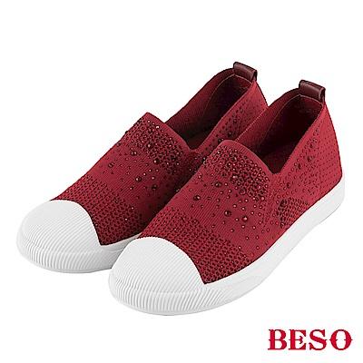 BESO 時尚樂活 燙鑽簍空飛織休閒鞋~紅