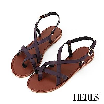 HERLS 異國漫步 層次感交叉平底涼鞋-深紫