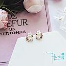Hera赫拉 貝殼圓型花環鋯石花朵耳針/耳釘