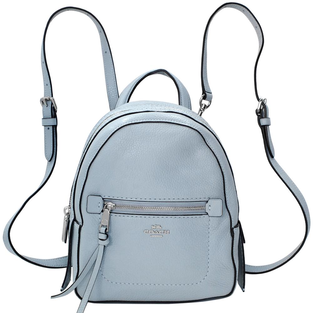 COACH ANDI天空藍荔枝紋全皮多重搭配小款後背包