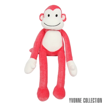 Yvonne Collection 猴子造型小抱枕-紅細條紋