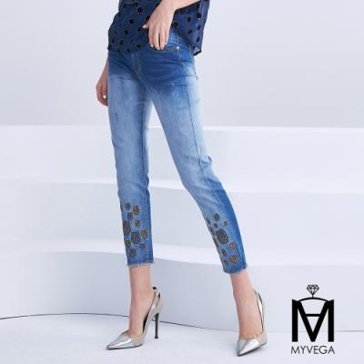 【麥雪爾】MA玫瑰亮鑽小直筒牛仔褲