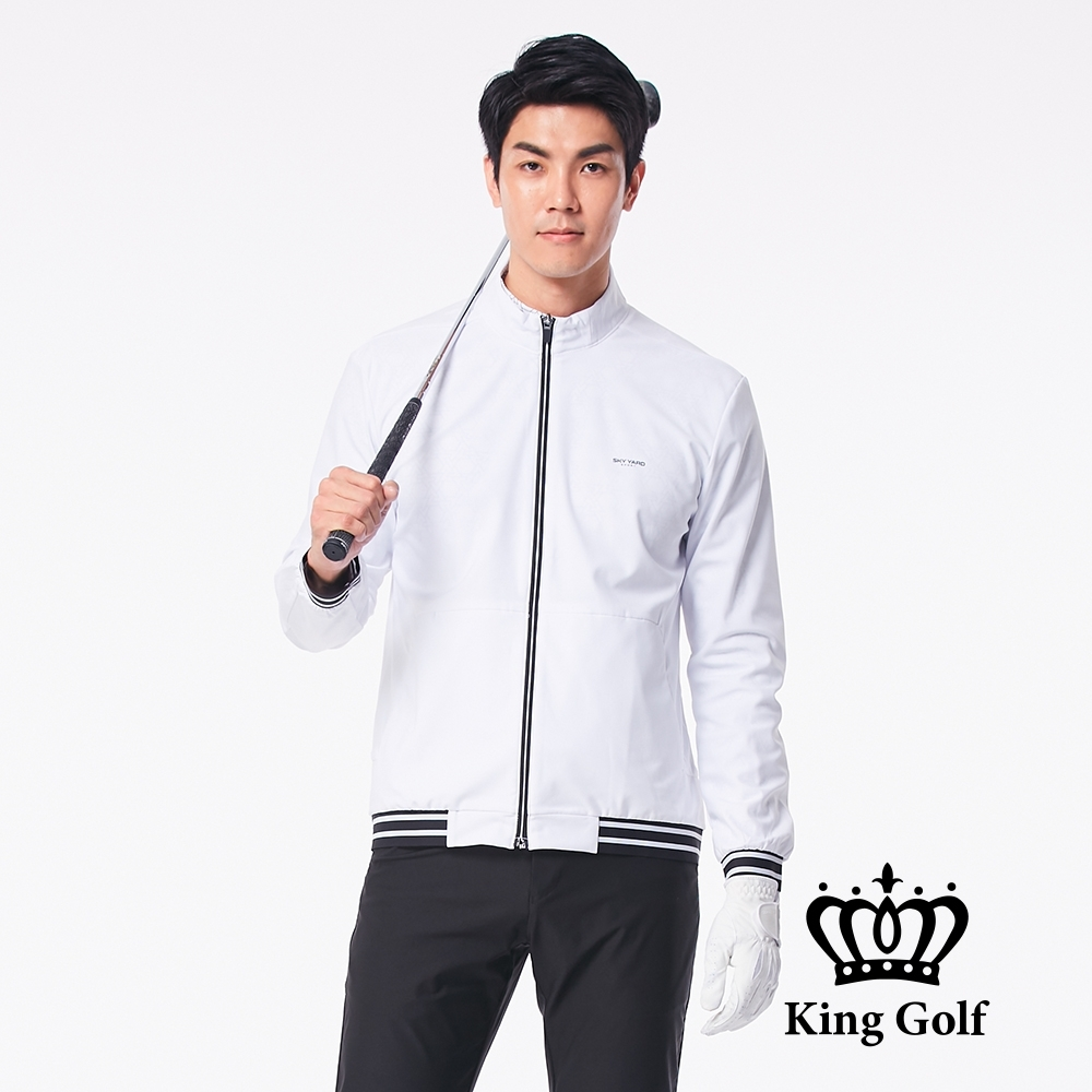 【KING GOLF】LOGO印圖防風防水長袖夾克外套-白色