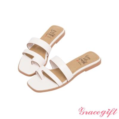 Grace gift X Kerina-聯名雙帶套趾平底涼拖鞋 白