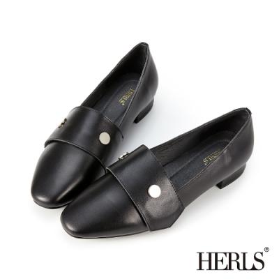 HERLS樂福鞋-全真皮銀釦魔鬼氈橫帶懶人樂福鞋-黑色