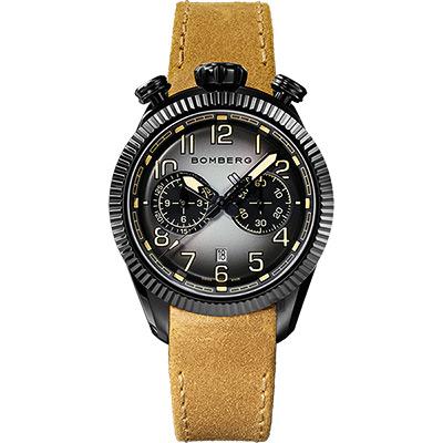 BOMBERG 炸彈錶 BB-68 系列飛行計時碼錶-煙燻黑/44mm