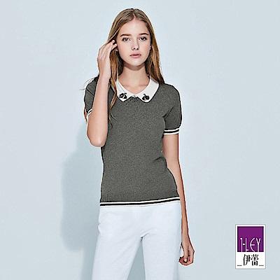 ILEY伊蕾 天鵝珠鑽縫飾領片造型針織上衣(灰)