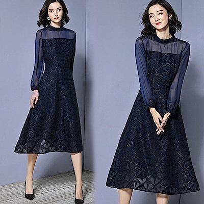 【韓國K.W.】唯美蕾絲金蔥完美洋裝