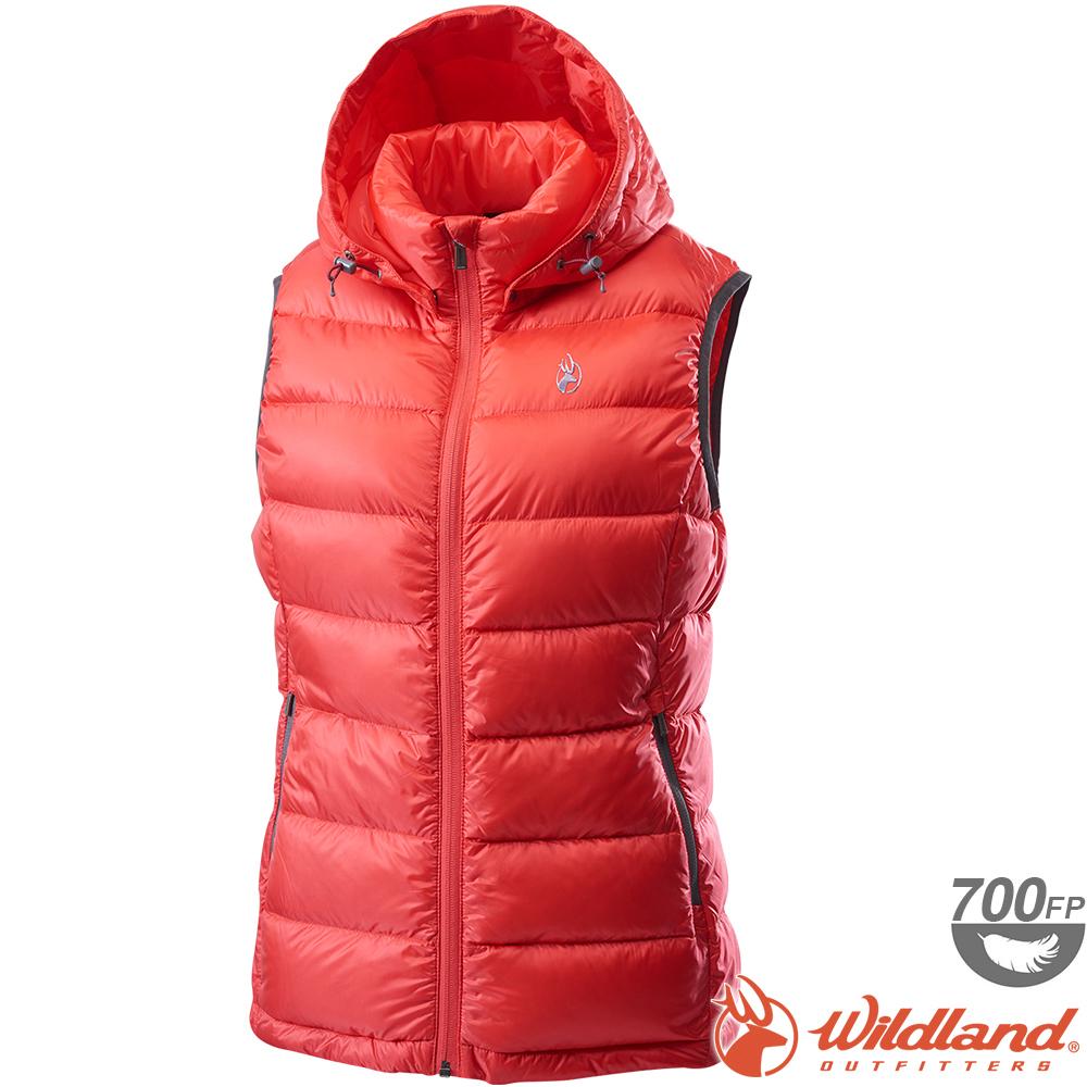 Wildland 荒野 0A62171-15珊瑚紅 女700FP拆帽輕羽絨背心
