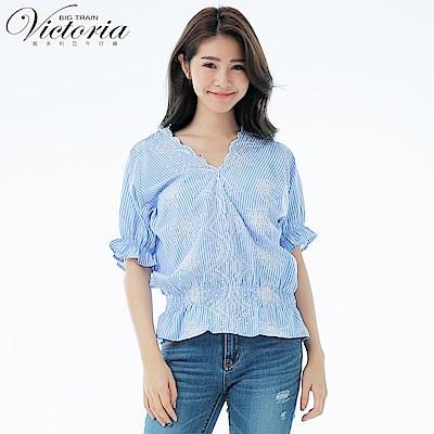 Victoria 刺繡平織布V領短袖T-女-深藍