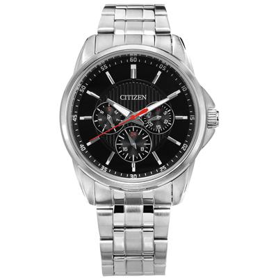 CITIZEN 經典三眼 日期星期 防水100米 不鏽鋼手錶-黑色/42mm