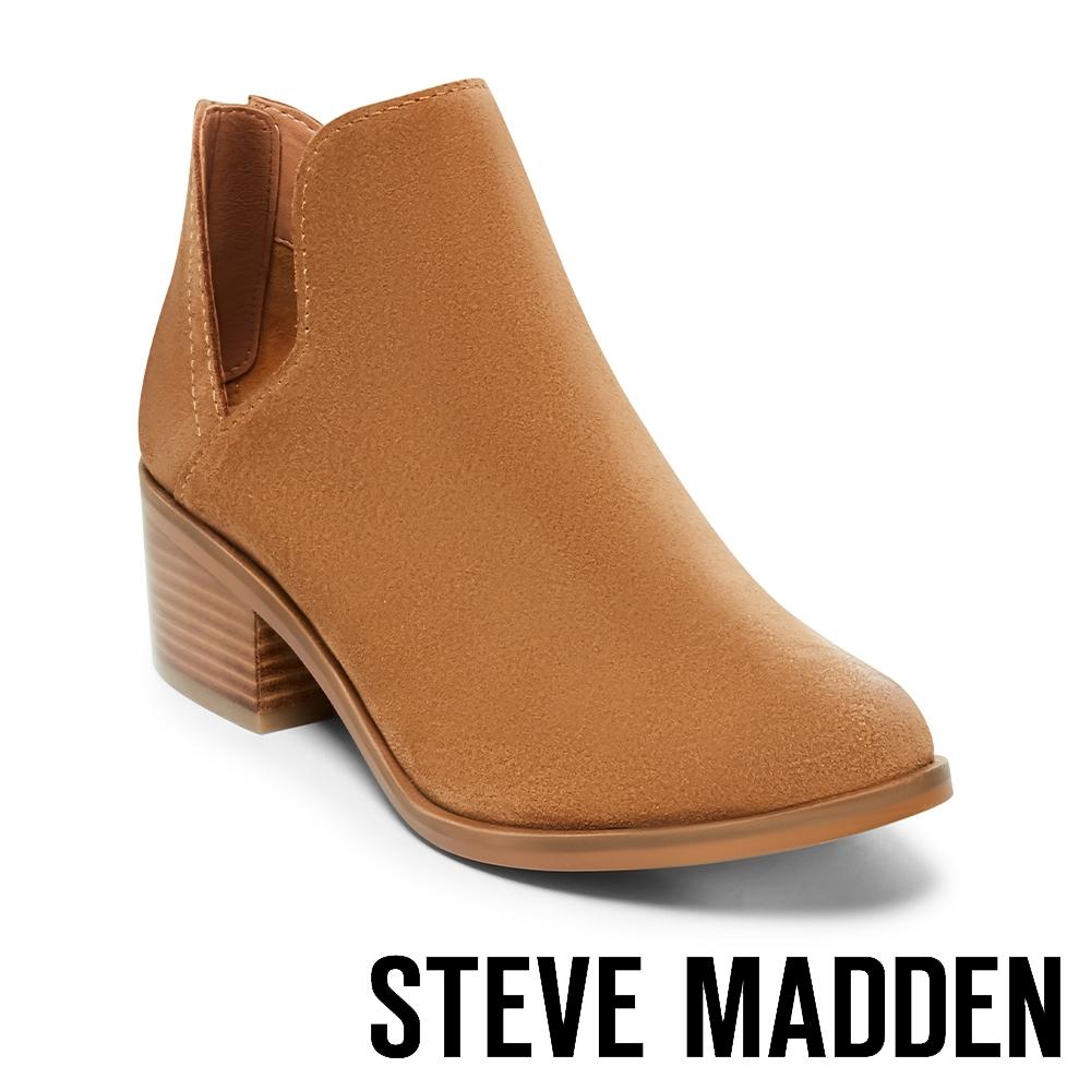 STEVE MADDEN-LANCASTER絨面美型粗跟拉鍊短靴-絨棕色